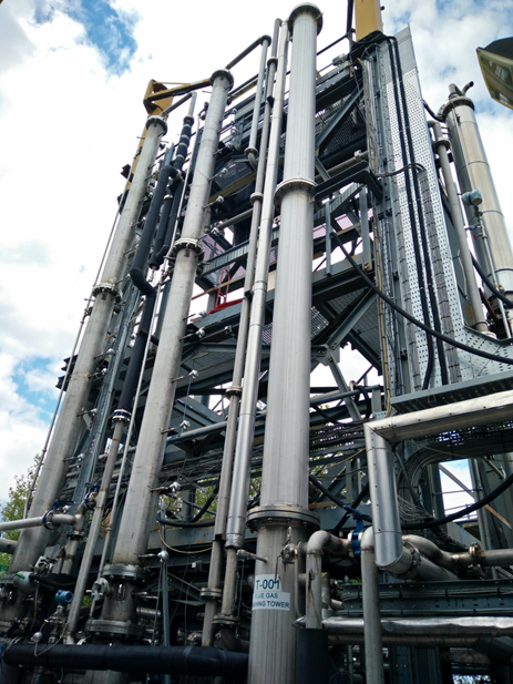 Post-combustion capture plant at the University of Sheffield's PACT facility.