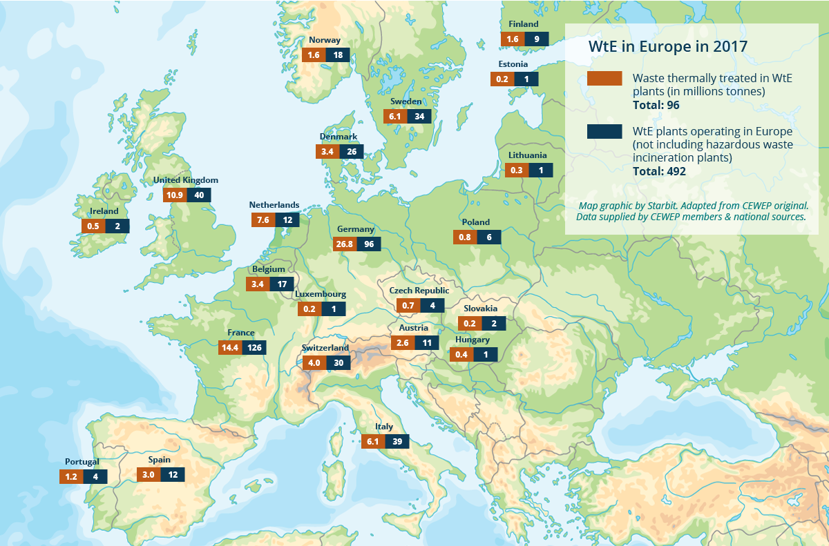 Map showing waste burning sites in Europe